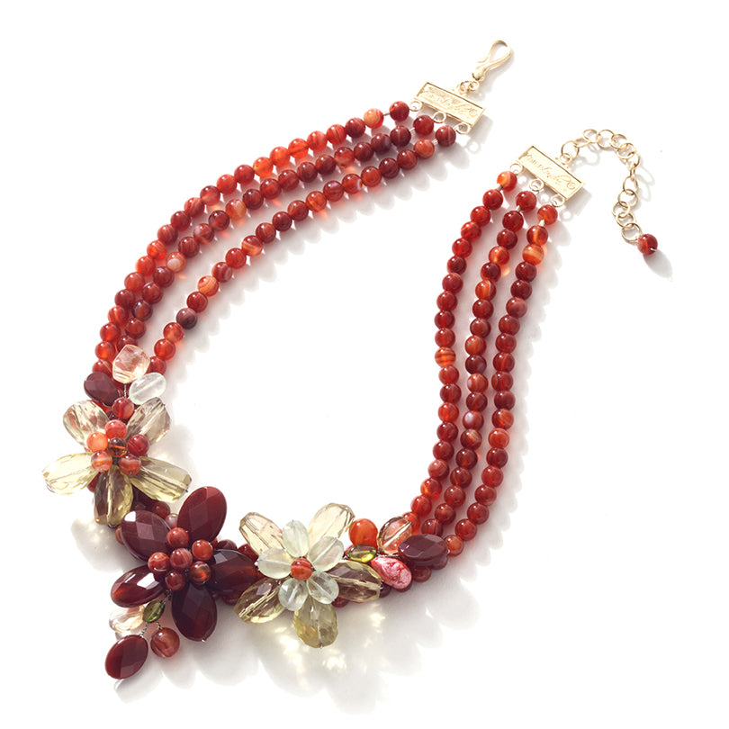 Vibrant Carnelian Gold Plated Sterling Silver Flower Statement Necklace