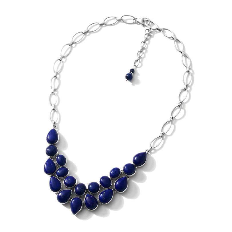 "Intense Blue Lapis Sterling Silver Statement Necklace 16"" - 18"""