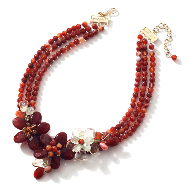 "Firey Carnelian and Lemon Quartz Gold Plated Silver Flower Statement Necklace 16"" - 18"""