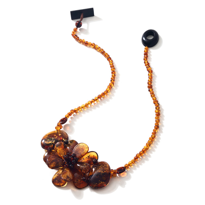 Rich Cognac Baltic Amber Bozena Flower Statement Necklace 19""