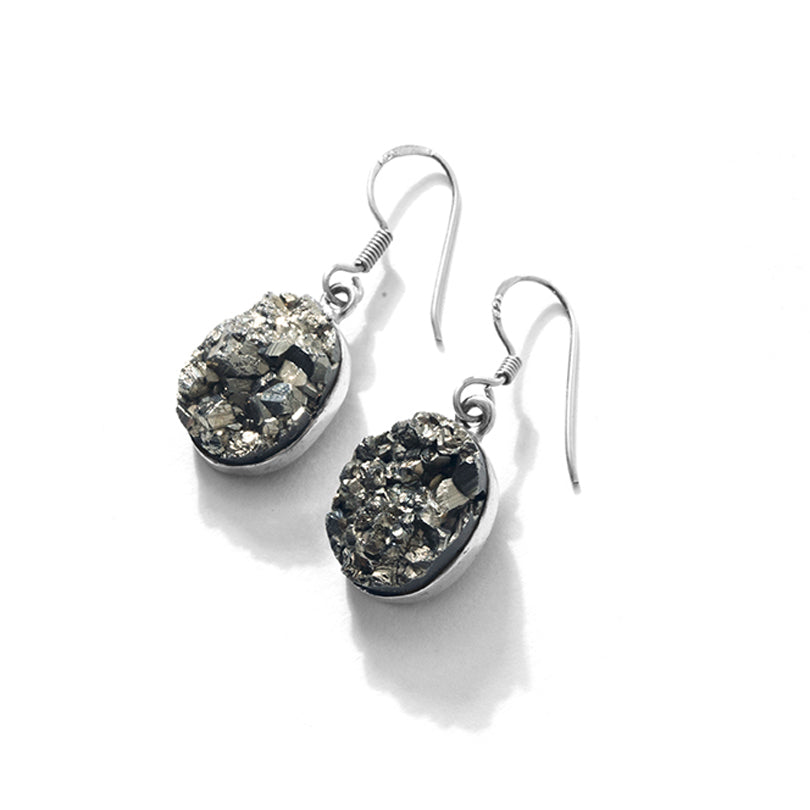 Sparkling Pyrite Sterling Silver Earrings