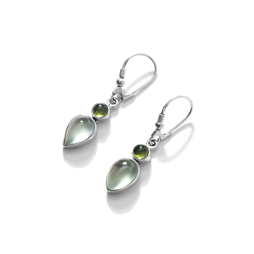 Lovely Pastel Petite Prehnite with Idocrase Sterling Silver Earrings