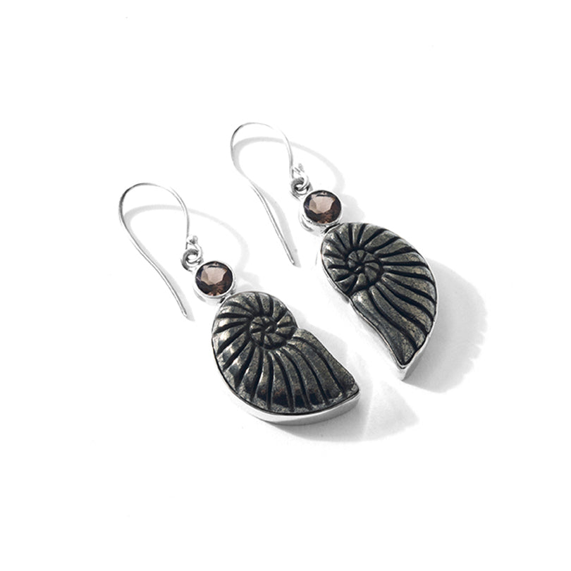 Exotic Carved Pyrite Ammonite Statement Earrings