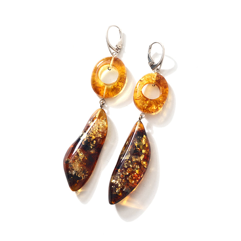 Beyond Gorgeous! Golden Cognac Baltic Amber Sterling Silver Statement Earrings