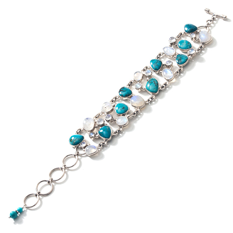 "Pretty Arizona Turquoise &  Moonstone ""Lace"" Sterling Silver Statement Bracelet"