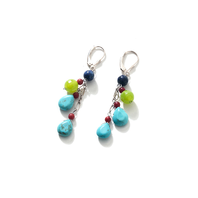 Cheerful Magnesite-Turquoise Multi Stones Sterling Silver Earrings