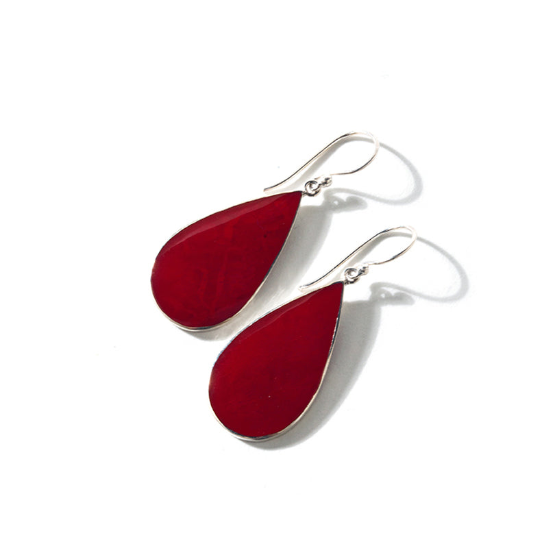 Balinese Red Coral Sterling Silver Earrings