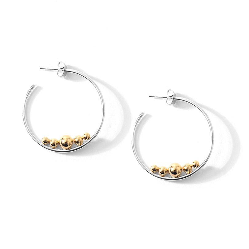 Gorgeous Rhodium Plated  Sterling Silver with 18Kt Gold Plated Sparkling Balls Statement Hoops