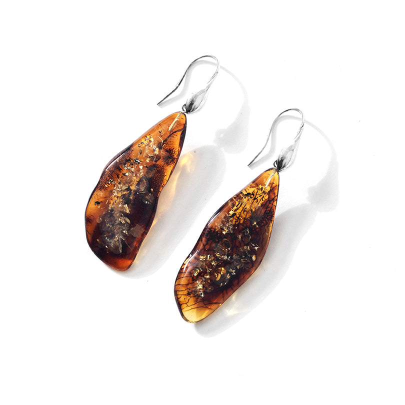 Polish Designer Cognac Baltic Amber Sterling Silver Statement Earrings
