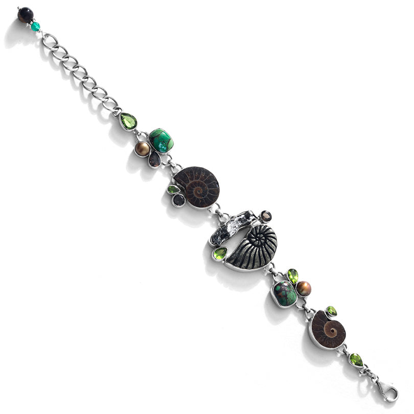 Exotic Carved Pyrite-Ammonite and Green Turquoise Sterling Silver Statement Bracelet