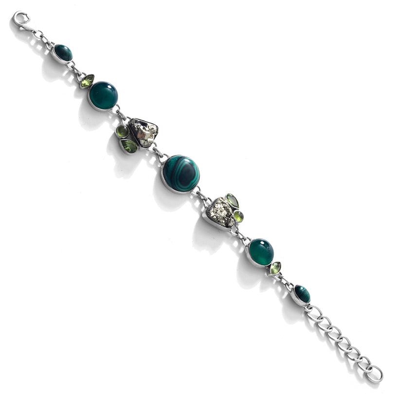 Beautiful Green Malachite & Sparkling Pyrite Sterling Silver Statement Bracelet
