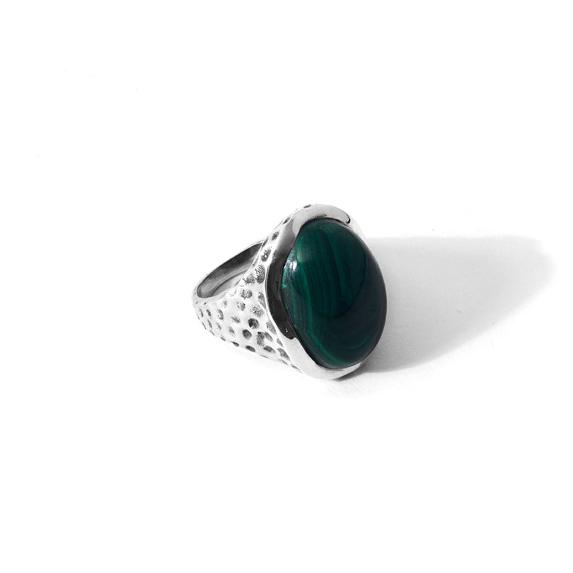 Beautiful Green Malachite In Hammered Sterling Silver Ring