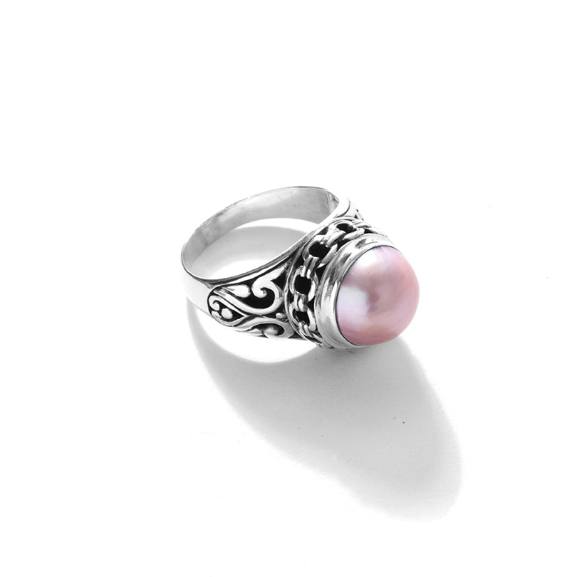 Balinese Pink Mabe Pearl Sterling Silver Ring
