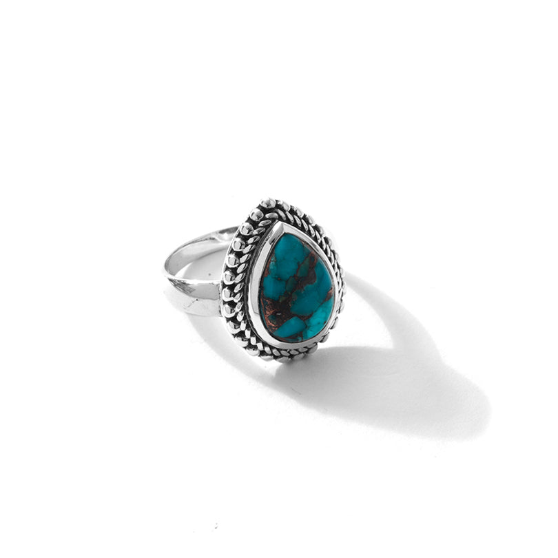 Turquoise with Bronze Accents Sterling Silver Ring