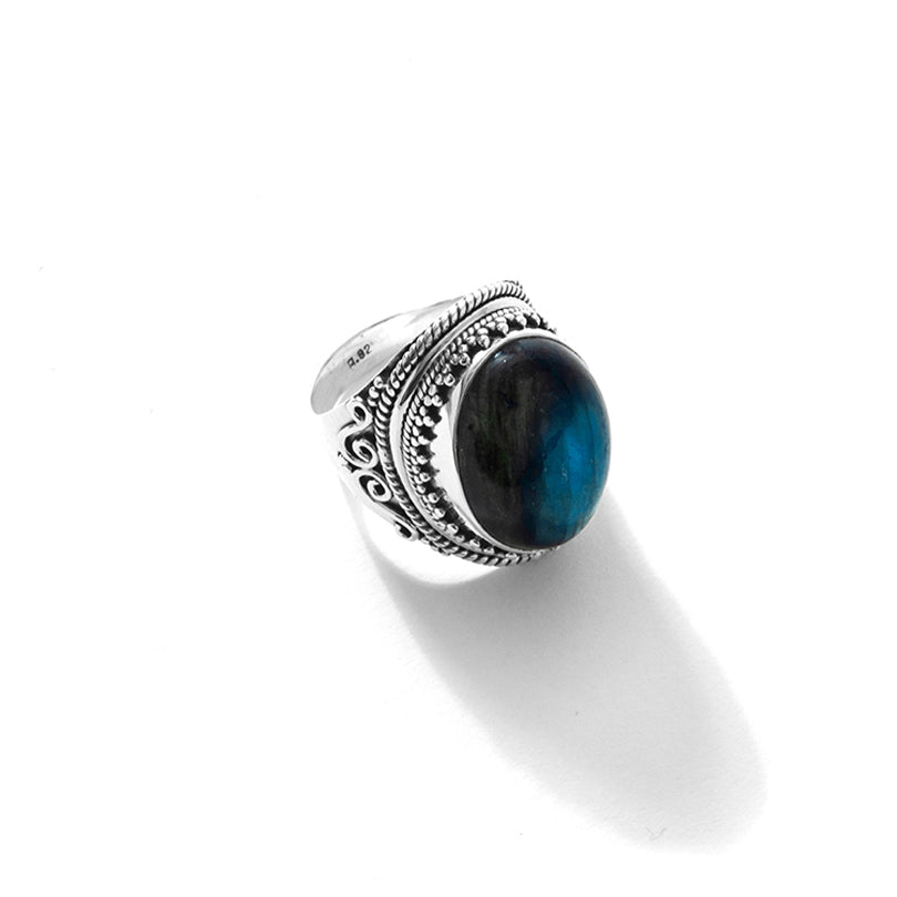 Shimmering Blue Labradorite Sterling Silver Statement Ring