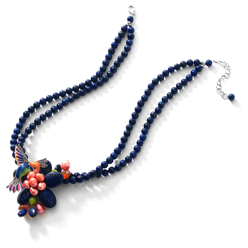 So Cute and Colorful Lapis Hummingbird Sterling Silver Flower Statement Necklace