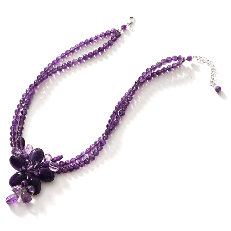 Gorgeous Amethyst Sterling Silver Flower Statement Necklace