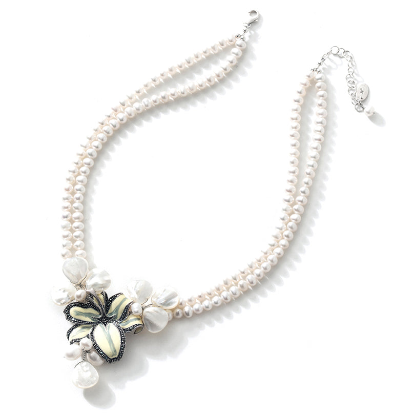White Lily Fresh Water Pearl Sterling Silver Flower Statement Necklace