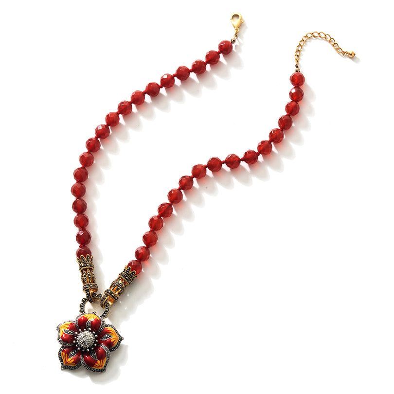 Sunshine Carnelian and Gold Plated Marcasite Silver Flower Statement Necklace