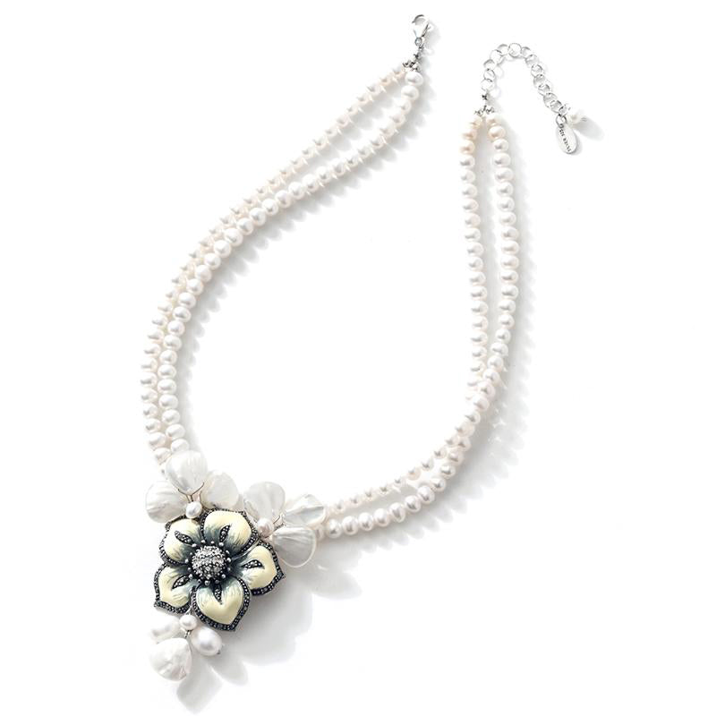 Flowers, Shells & Pearls Sterling Silver Flower Statement Necklace
