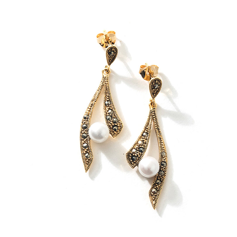 Gorgeous 14kt Gold Plated Marcasite with Pearls Statement Earrings