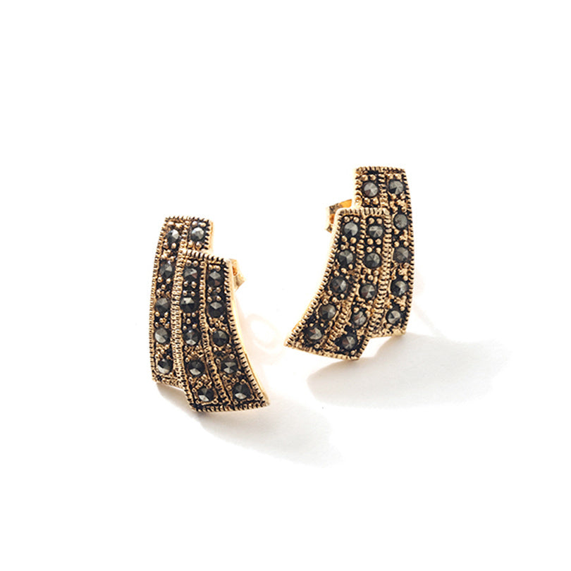 Stunning Art Deco Style Gold Plated Marcasite Earrings