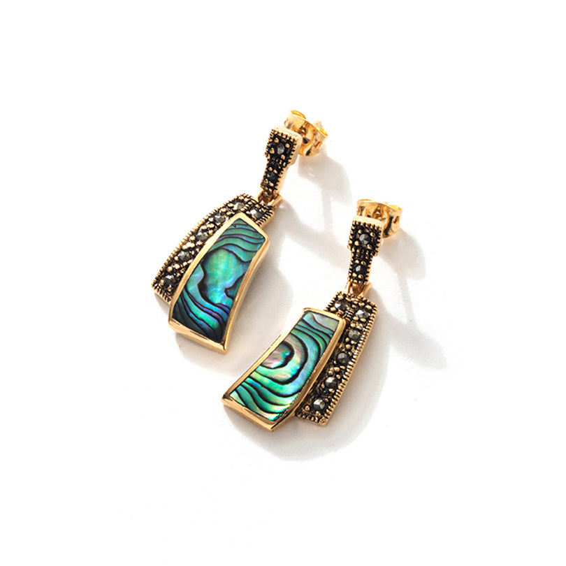 Stunning Abalone and.14kt Gold Plated Marcasite Statement Earrings