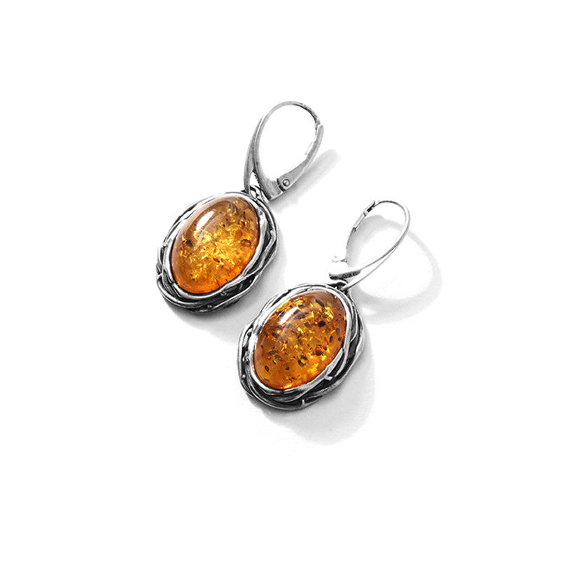 Woven Silver Design Baltic Cognac Amber  Sterling Silver Earrings
