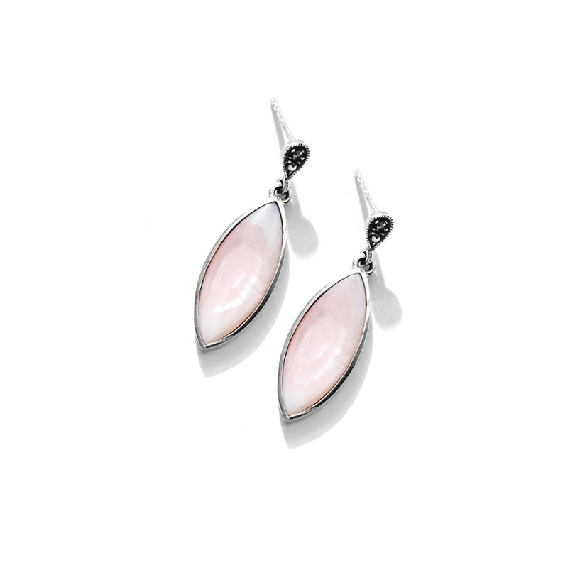 Shimmering Pink Mother of Pearl Sterling Silver Earrings