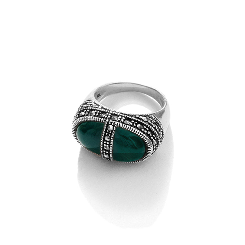 """Sophisticated Lady"" Green Onyx Marcasite Sterling Silver Ring"