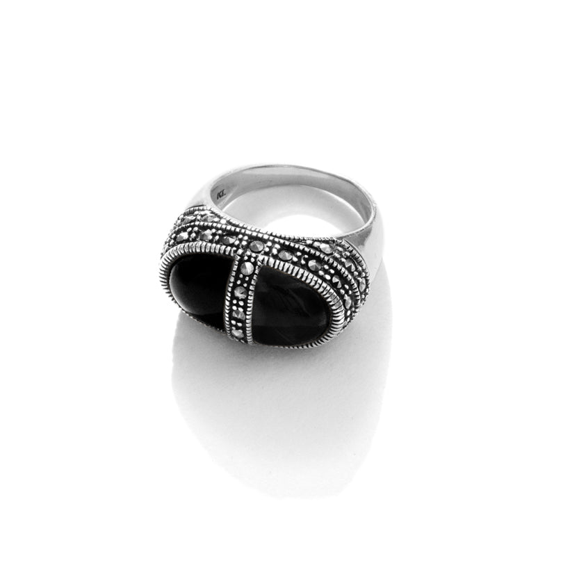 """Sophisticated Lady"" Black Onyx Marcasite Sterling Silver Ring"