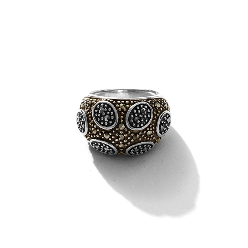 Dynamic Sparkling Circles Marcasite Sterling Silver Ring
