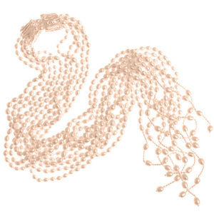 5 Strand Fresh Water Pearl Lariat Statement Necklace