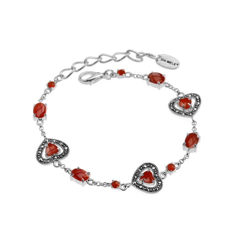 Darling Hearts Carnelian and Marcasite Sterling Silver Petite Bracelet