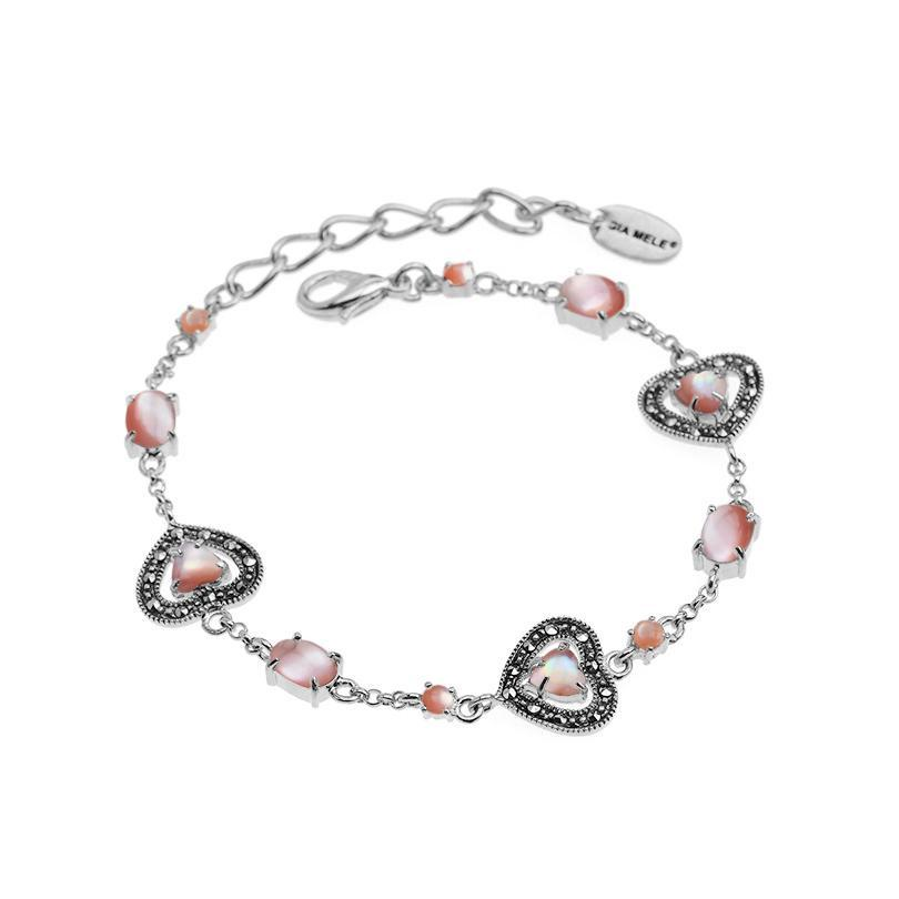 Darling Hearts Pink Mother of Pearl and Marcasite Sterling Silver Petite Bracelet