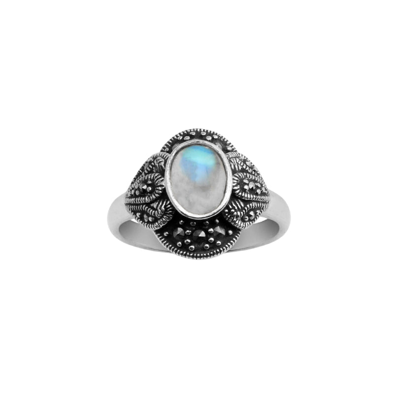 Shimmering Rainbow Moonstone & Marcasite Petite Sterling Silver Ring