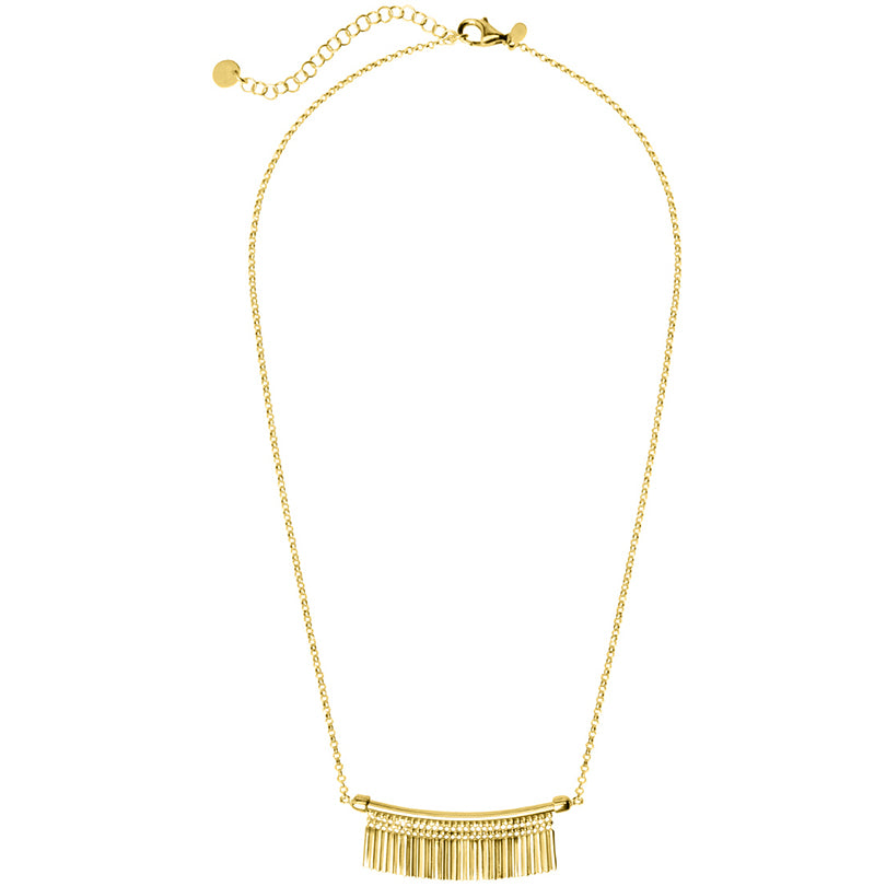 Italian Fringe 18kt Gold Plated Sterling Silver Diamond Cut Necklace