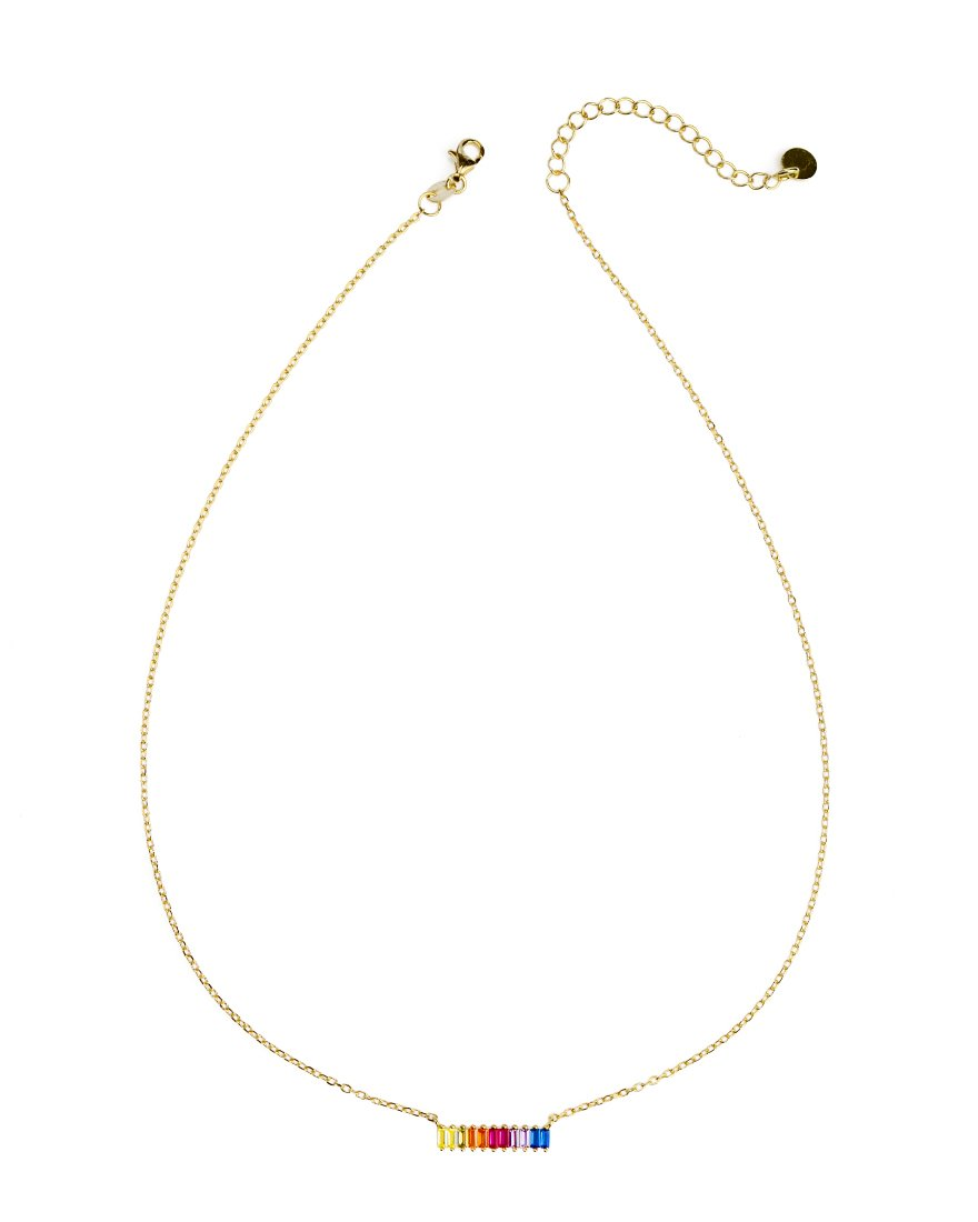 Delicate Sparkling Color-Bar Gold Plated Necklace