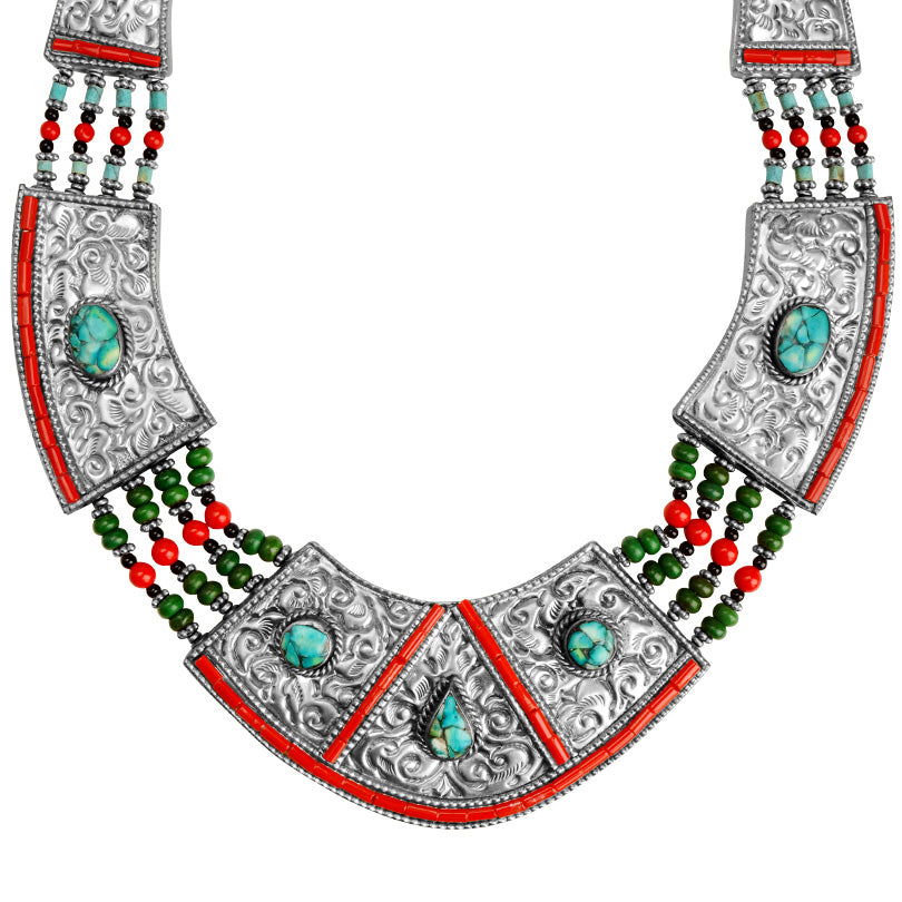 Magnificant Himalayan Turquoise and Coral Nepal Silver Plated Statement Necklace