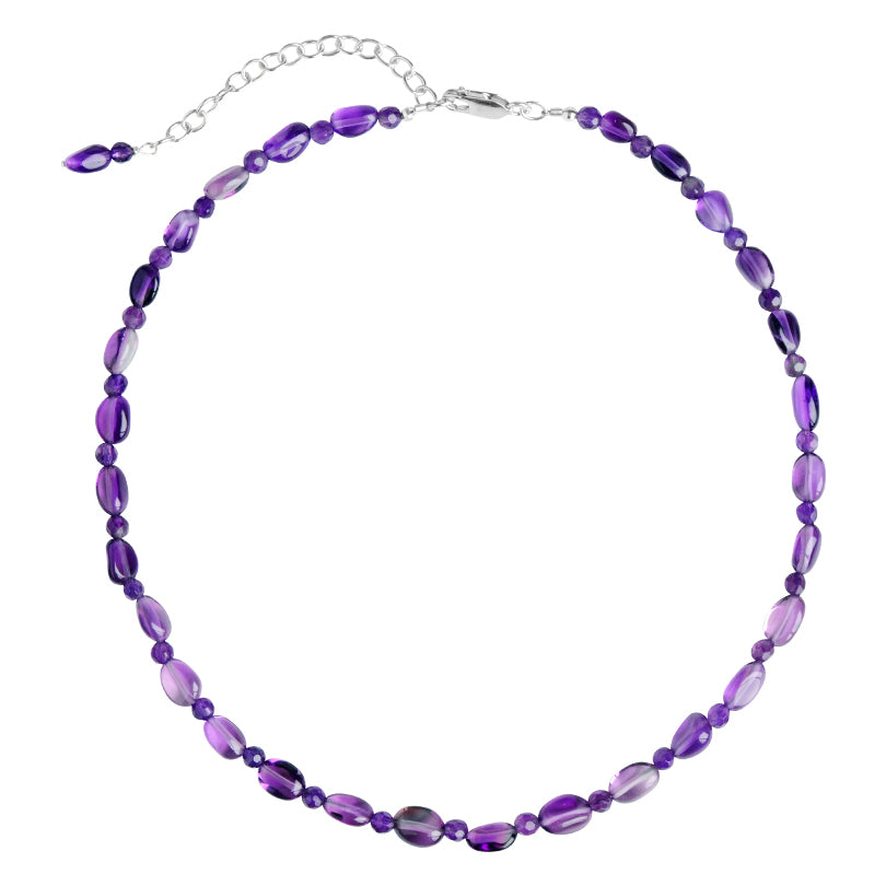 Lovely Amethyst Beaded Sterling Silver Necklace
