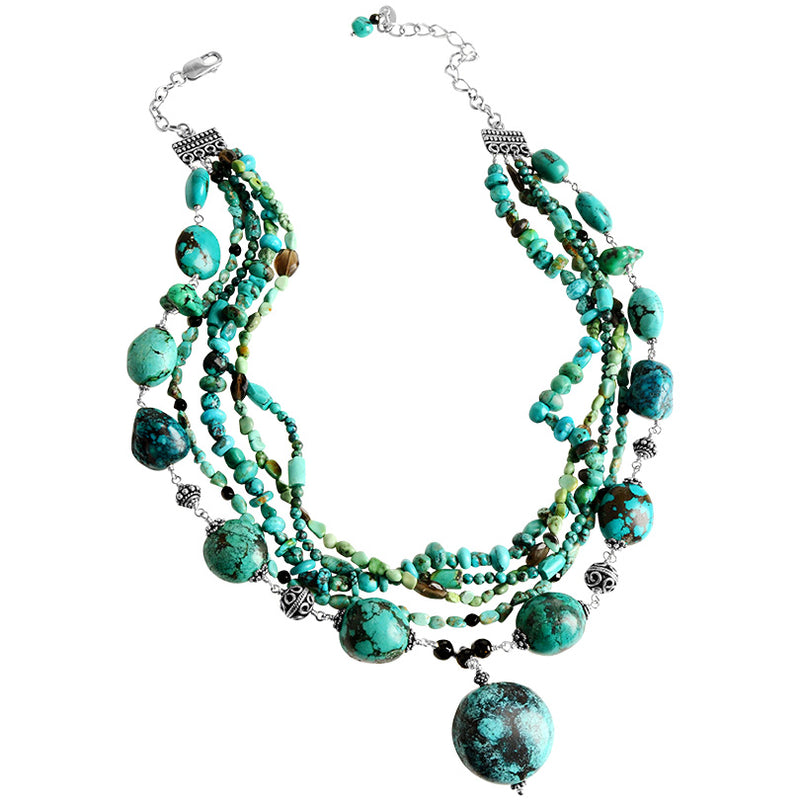 Beautiful Genuine Turquoise Multi-Strand Statement Necklace