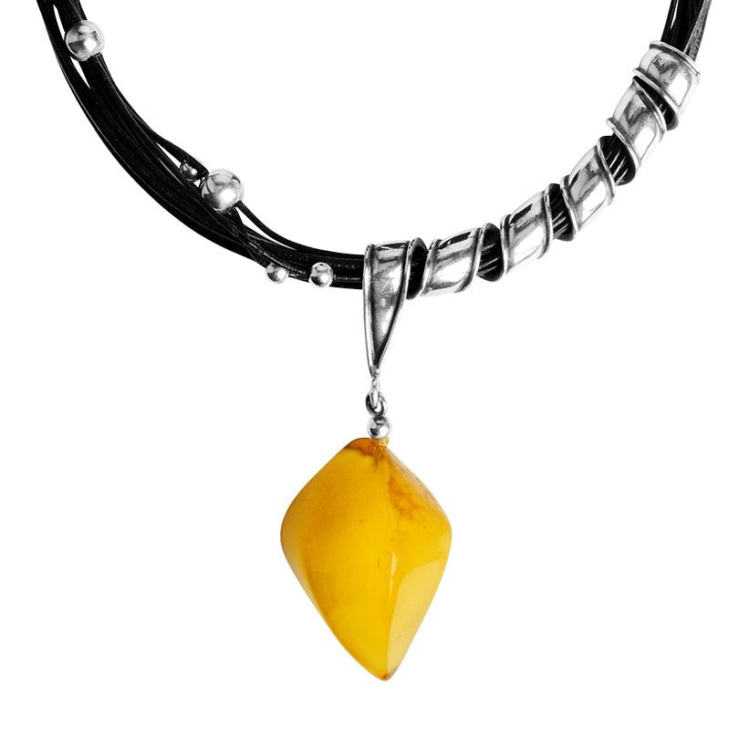 Baltic Amber Leather and Sterling Silver Statement Necklace