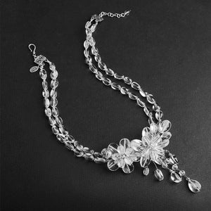 Sparkling Clear Quartz Sterling Silver Flower Necklace