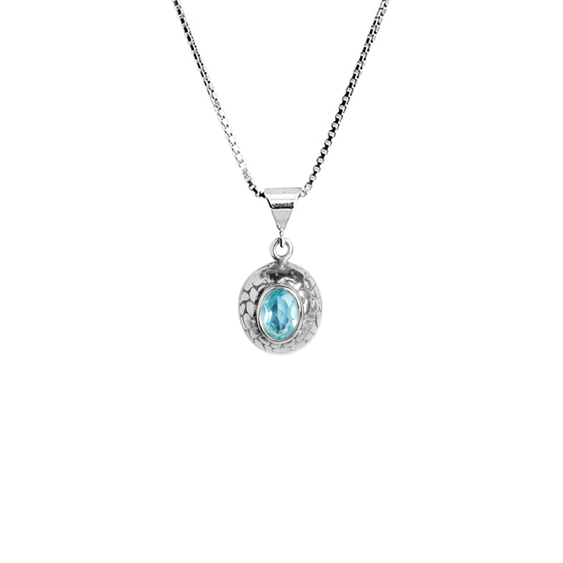 Petite Bali Design Blue Topaz Sterling Silver Necklace