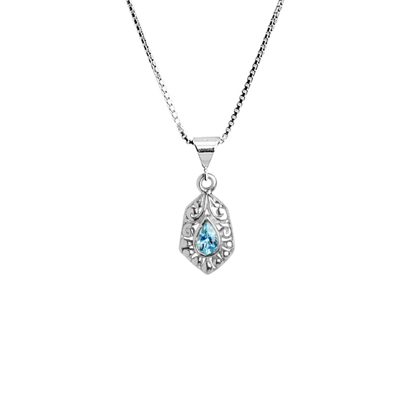 Petite Balinese Style Blue Topaz Sterling Silver Necklace