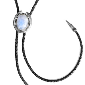 Moonstone Sterling Silver Leather Bolo-Tie