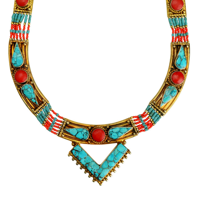 Gorgeous Himalayan Turquoise and Coral Gold Plated Nepal Statement Necklace