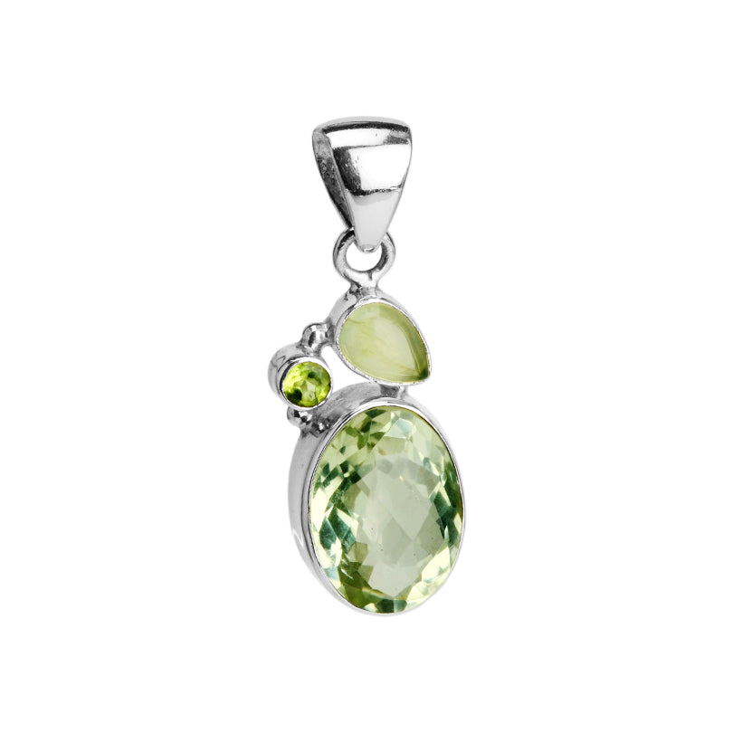 Green Amethyst, Prehnite, and Peridot Pendant