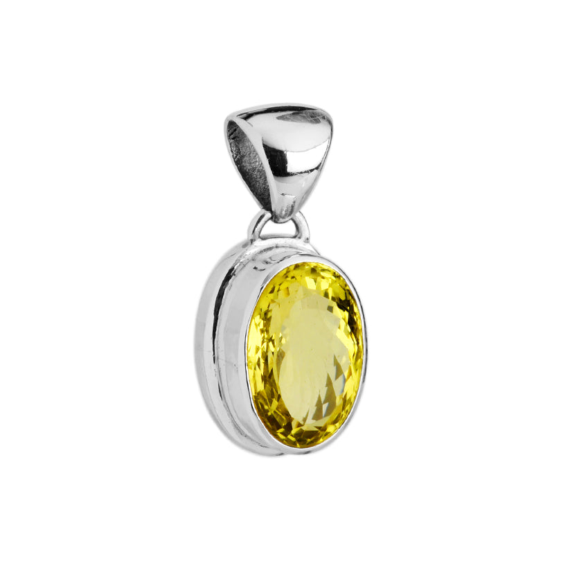 Gorgeous Large Faceted Lemon Quartz Sterling Silver Pendant