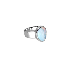 Beautiful Australian Blue Opal Sterling Silver Ring - Size 8